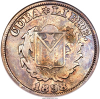 reverse of 20 Centavos (1898) coin with KM# Pn9 from Cuba. Inscription: CUBA * LIBRE. 1898