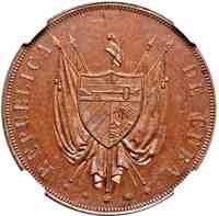 obverse of 1 Peso (1870) coin with KM# Pn5a from Cuba. Inscription: REPUBLICA DE CUBA * * * * *