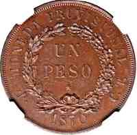 reverse of 1 Peso (1870) coin with KM# Pn5a from Cuba. Inscription: MONEDA PROVISIONAL UN PESO • P • C. T. 1870