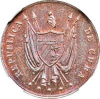 obverse of 10 Centavos (1870) coin with KM# Pn2a from Cuba. Inscription: REPUBLICA DE CUBA * * * * *