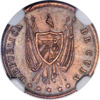 obverse of 5 Centavos (1870) coin with KM# Pn1a from Cuba. Inscription: REPUBLICA DE CUBA * * * * *