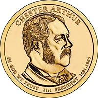 obverse of 1 Dollar - Chester Arthur (2012) coin with KM# 524 from United States. Inscription: CHESTER ARTHUR IN GOD WE TRUST 21st PRESIDENT 1881-1885