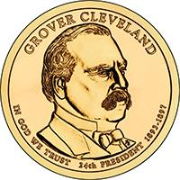 obverse of 1 Dollar - Grover Cleveland, second term (2012) coin with KM# 527 from United States. Inscription: GROVER CLEVELAND IN GOD WE TRUST 24th PRESIDENT 1893-1897