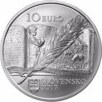 obverse of 10 Euro - 150th Anniversary of the Birth of Božena Slančíková Timrava (2017) coin from Slovakia. Inscription: 10 EURO SLOVENSKO 2017