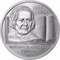 reverse of 10 Euro - 150th Anniversary of the Birth of Božena Slančíková Timrava (2017) coin from Slovakia. Inscription: BOŽENA SLANČÍKOVÁ TIMRAVA 1867 1951