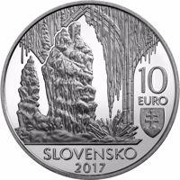 obverse of 10 Euro - World Natural Heritage – Caves of Slovak Karst (2017) coin from Slovakia. Inscription: 10 EURO SLOVENSKO 2017