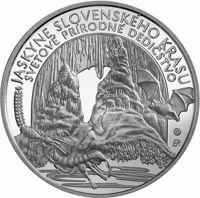 reverse of 10 Euro - World Natural Heritage – Caves of Slovak Karst (2017) coin from Slovakia. Inscription: JASKYNE SLOVENSKÉHO KRASU SVETOVÉ PRÍRODNÉ DEDIČSTVO