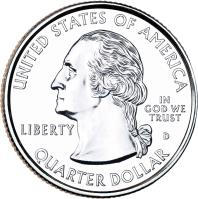obverse of 1/4 Dollar - Acadia National Park, Maine - Washington Quarter (2012) coin with KM# 521 from United States. Inscription: UNITED STATES OF AMERICA LIBERTY IN GOD WE TRUST QUARTER DOLLAR