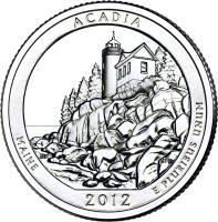 reverse of 1/4 Dollar - Acadia National Park, Maine - Washington Quarter (2012) coin with KM# 521 from United States. Inscription: ACADIA MAINE 2012 E PLURIBUS UNUM