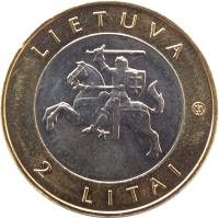 obverse of 2 Litai - Creations of nature and man - Kurenkahn (2013) coin with KM# 188 from Lithuania. Inscription: LIETUVA 2 LITAI