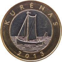 reverse of 2 Litai - Creations of nature and man - Kurenkahn (2013) coin with KM# 188 from Lithuania. Inscription: KURĖNAS 2013