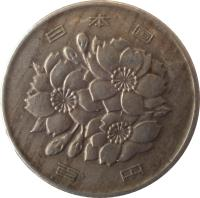 obverse of 100 Yen - Shōwa (1967 - 1988) coin with Y# 82 from Japan. Inscription: 日 本 国 百 円