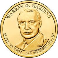 obverse of 1 Dollar - Warren G. Harding (2014) coin with KM# 571 from United States. Inscription: WARREN G. HARDING IN GOD WE TRUST 29th PRESIDENT 1921-1923