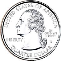 obverse of 1/4 Dollar - Great Smoky Mountains - Washington Quarter (2014) coin with KM# 566 from United States. Inscription: UNITED STATES OF AMERICA LIBERTY IN GOD WE TRUST D QUARTER DOLLAR