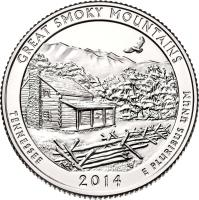 reverse of 1/4 Dollar - Great Smoky Mountains - Washington Quarter (2014) coin with KM# 566 from United States. Inscription: GREAT SMOKY MOUNTAINS TENNESSEE RG 2014 E PLURIBUS UNUM