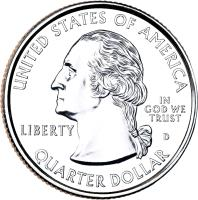 obverse of 1/4 Dollar - Shenandoah National Park, Virginia - Washington Quarter (2014) coin with KM# 567 from United States. Inscription: UNITED STATES OF AMERICA LIBERTY IN GOD WE TRUST D QUARTER DOLLAR