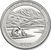 reverse of 1/4 Dollar - Great Sand Dunes, Colorado - Washington Quarter (2014) coin with KM# 569 from United States. Inscription: GREAT SAND DUNES, COLORADO, 2014 E PLURIBUS UNUM