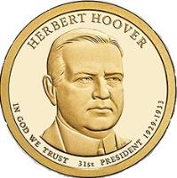 obverse of 1 Dollar - Herbert Hoover (2014) coin with KM# 573 from United States. Inscription: HERBERT HOOVER 31st PRESIDENT 1929 - 1933 IN GOD WE TRUST