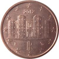 obverse of 1 Euro Cent (2002 - 2016) coin with KM# 210 from Italy. Inscription: ED RI R 2005