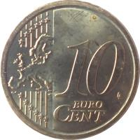 reverse of 10 Euro Cent - 2'nd Map (2008 - 2015) coin with KM# 247 from Italy. Inscription: 10 EURO CENT LL