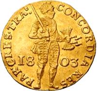 obverse of 1 Ducat - Trade Coinage (1801 - 1805) coin with KM# 11.3 from Netherlands. Inscription: PAR:CRES:TRA...