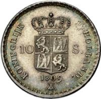 reverse of 10 Stuivers - Napoleon III (1807 - 1809) coin with KM# 30 from Netherlands.