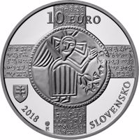 obverse of 10 Euro - 150th Anniversary of the Recognition of the Slavonic Liturgical Language (2018) coin from Slovakia. Inscription: 10 EURO 2018 SLOVENSKO