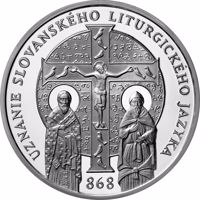 reverse of 10 Euro - 150th Anniversary of the Recognition of the Slavonic Liturgical Language (2018) coin from Slovakia. Inscription: UZNANIE SLOVANSKÉHO LITURGICKÉHO JAZYKA 868