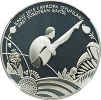 reverse of 5 Manat - 1st European Games in Baku - Diving (2015) coin from Azerbaijan. Inscription: BAKU 2015 I AVROPA OYUNLARI FIRST EUROPEAN GAMES