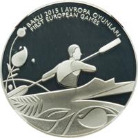 reverse of 5 Manat - 1st European Games in Baku - Canoe Sprint (2015) coin from Azerbaijan. Inscription: BAKU 2015 I AVROPA OYUNLARI FIRST EUROPEAN GAMES