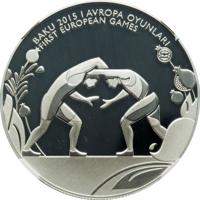 reverse of 5 Manat - 1st European Games in Baku - Wrestling (2015) coin from Azerbaijan. Inscription: BAKU 2015 I AVROPA OYUNLARI FIRST EUROPEAN GAMES