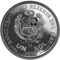 reverse of 1 Sol - 100 years of School of Fine Arts (2018) coin from Peru. Inscription: BANCO CENTRAL DE RESERVA DEL PÉRU UN SOL 33.625 g PLATA .925 2018