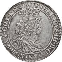 obverse of 1 Speciedaler - Frederik III (1657 - 1661) coin with KM# 212 from Denmark. Inscription: FRIDERICVS·III·D:G DAN·NOR·VAN:GOT·REX