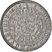 reverse of 1 Speciedaler - Frederik III (1657 - 1661) coin with KM# 212 from Denmark. Inscription: DOMINVS P | ROVIDEBIT . HK 16 | 57