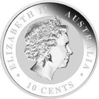obverse of 10 Cents - Elizabeth II - Koala Silver Bullion (2012) coin with KM# 1789 from Australia. Inscription: ELIZABETH II AUSTRALIA IRB · 10 CENTS ·