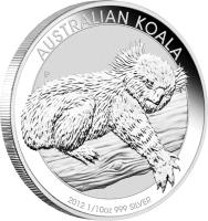 reverse of 10 Cents - Elizabeth II - Koala Silver Bullion (2012) coin with KM# 1789 from Australia. Inscription: AUSTRALIAN KOALA P AH 2012 1/10 oz 999 SILVER