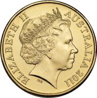 obverse of 1 Dollar - Elizabeth II - Major Mitchell Cockatoo - 4'th Portrait (2011) coin with KM# 1643 from Australia. Inscription: ELIZABETH II AUSTRALIA 2011 IRB