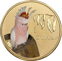 reverse of 1 Dollar - Elizabeth II - Major Mitchell Cockatoo - 4'th Portrait (2011) coin with KM# 1643 from Australia. Inscription: 1 Dollar
