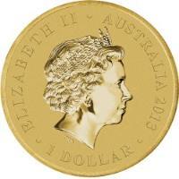 obverse of 1 Dollar - Elizabeth II - Wombat - 4'th Portrait (2013) coin with KM# 2059 from Australia. Inscription: ELIZABETH II · AUSTRALIA 2013 IRB · 1 DOLLAR ·