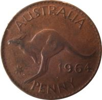 reverse of 1 Penny - Elizabeth II - With F:D:; 1'st Portrait (1955 - 1964) coin with KM# 56 from Australia. Inscription: AUSTRALIA KG 1961 PENNY.