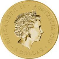 obverse of 1 Dollar - Elizabeth II - Echidna - 4'th Portrait (2013) coin with KM# 1913 from Australia. Inscription: ELIZABETH II · AUSTRALIA 2013 IRB · 1 DOLLAR ·