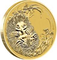 reverse of 1 Dollar - Elizabeth II - Echidna - 4'th Portrait (2013) coin with KM# 1913 from Australia. Inscription: Australian Echidna P EM