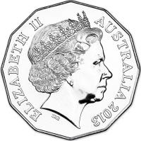 obverse of 50 Cents - Elizabeth II - 100 Years of Commonwealth Stamps - 4'th Portrait (2013) coin with KM# 1960 from Australia. Inscription: ELIZABETH II AUSTRALIA 2013 IRB