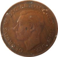 obverse of 1 Penny - George VI - Without IND:IMP (1949 - 1952) coin with KM# 43 from Australia. Inscription: GEORGIVS VI D:G:BR:OMN:REX FIDEI DEF. HP