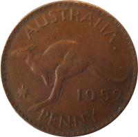 reverse of 1 Penny - George VI - Without IND:IMP (1949 - 1952) coin with KM# 43 from Australia. Inscription: AUSTRALIA KG 1952 PENNY