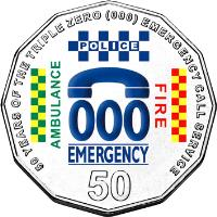 reverse of 50 Cents - Elizabeth II - 50 Years of Triple Zero - 4'th Portrait (2011) coin with KM# 1624 from Australia. Inscription: 50 YEARS OF THE TRIPLE ZERO (000) EMERGENCY CALL SERVICE 000 EMERGENCY AMBULANCE POLICE FIRE 50
