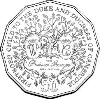 reverse of 50 Cents - Elizabeth II - Firstborn Baby of the Duke and Duchess of Cambridge - 4'th Portrait (2013) coin with KM# 1926 from Australia. Inscription: FIRST BORN CHILD TO THE DUKE AND DUCHESS OF CAMBRIDGE W. C HRH PRINCE GEORGE BORN 22.07.2013 50