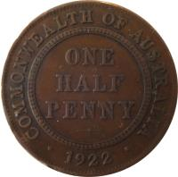 reverse of 1/2 Penny - George V (1911 - 1936) coin with KM# 22 from Australia. Inscription: COMMONWEALTH OF AUSTRALIA ONE HALF PENNY · 1922 ·
