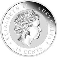 obverse of 10 Cents - Elizabeth II - Koala Silver Bullion; 4'th Portrait (2014) coin from Australia.