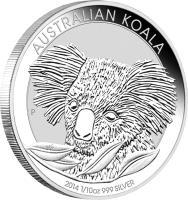 reverse of 10 Cents - Elizabeth II - Koala Silver Bullion; 4'th Portrait (2014) coin from Australia.